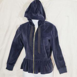 Kate Spade Navy Blue Velour Soft Zipper Jacket